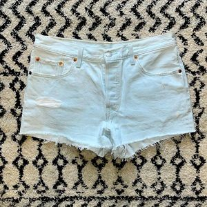 Levi's 501 Cutoff Shorts-Light Blue